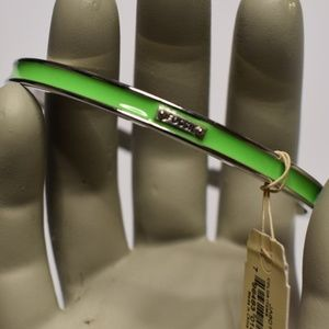 Fossil Silver Tone Green Enamel Bangle Bracelet